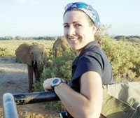 Lucy King watches two African elephants.