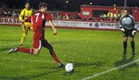 Rory Boulding prepares to fire a ball into the box MD37946