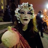 LIGHT AND DARK: Rachel Meadows on the Town Hall steps as Persephone, Greek goddess of the Underworld.