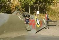 Kyle Cummins in the replica Spitfire - image from www.pontefractandcastlefordexpress.co.uk