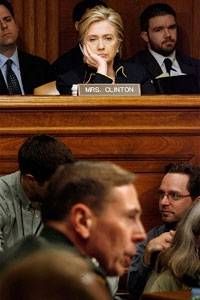On the slide: Hillary Clinton at a committee hearing on Capitol Hill. Political oblivion beckons if she fails to win big in Pennsylvania. Photograph: Getty