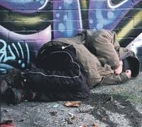 A youth sleeping rough in Dundas Street, Sunderland.