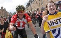 Crowds gathered as American cyclist Lance Armstrong led fellow riders from the Sutherland town of Dornoch