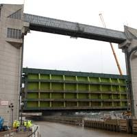 Engineers examine the huge structure in preparation for a multi-million renovation of the barrier which protects the Old Town from tidal surges.