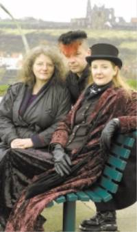 The memorial bench erected on West Cliff in memory of Sophie Lancaster. Pausing a thought for Sophie are, from left, Whitbys Fiona Clewlow, Mike Edwards and Glenis EdwardsPicture by Richard Ponter     w080212a
